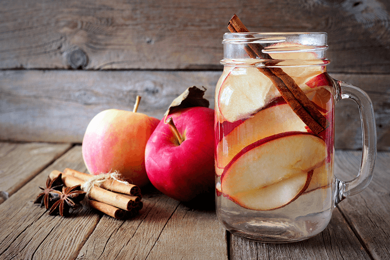 water infused with cinnamon, apple and strawberry