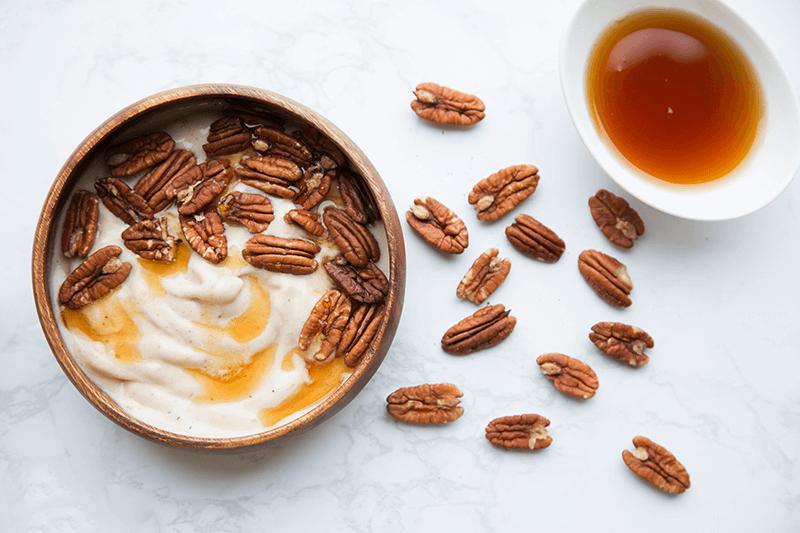 delicious pecan-topped nice cream