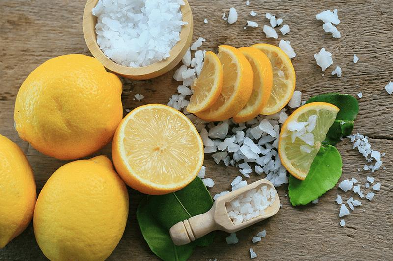 lemon and sea salt flatlay