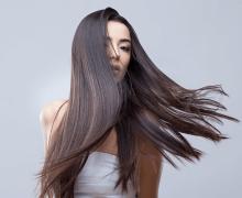 woman with long shiny dark brown hair