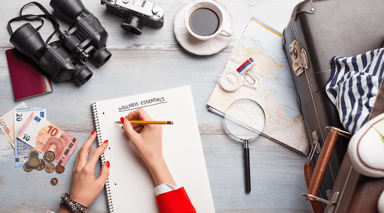 travel list with wellness essentials