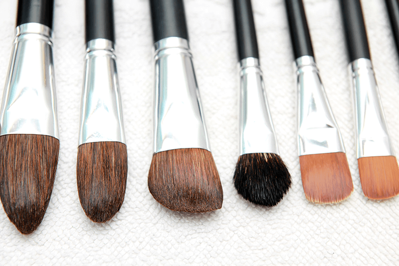 freshly cleaned makeup brushes