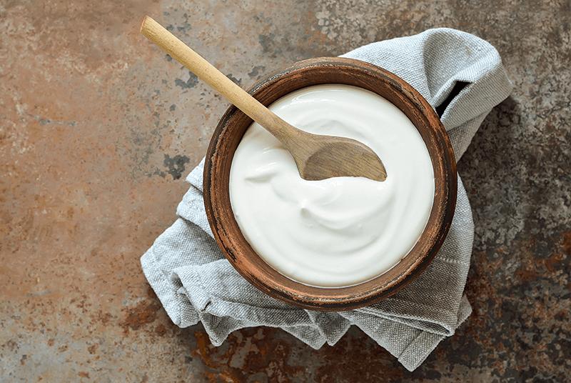 plain yogurt in a bowl