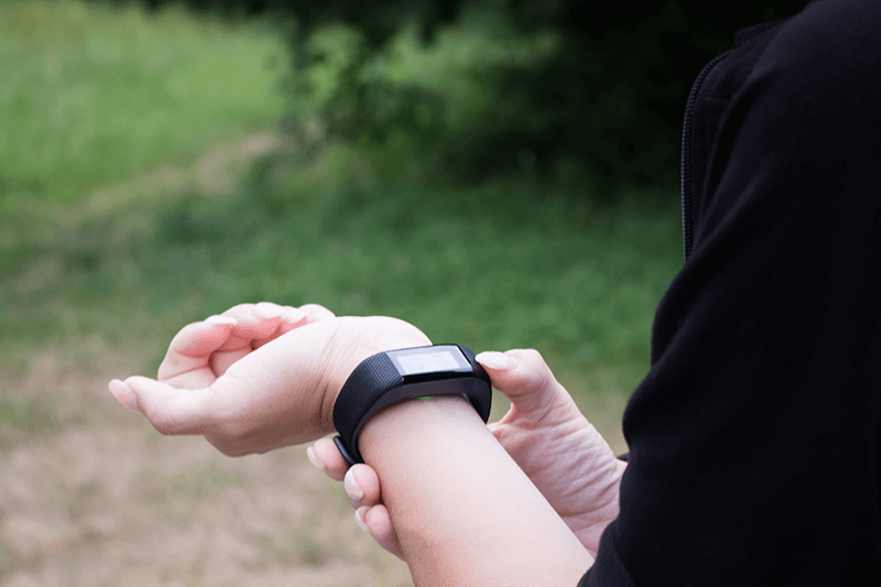 Woman's Wrist with Fitbit on