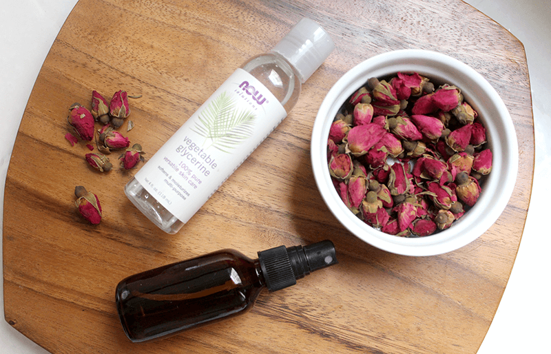 make a rose hydrosol with rose petals, glycerin, and water
