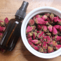 organic dried roses and tinted spray bottle