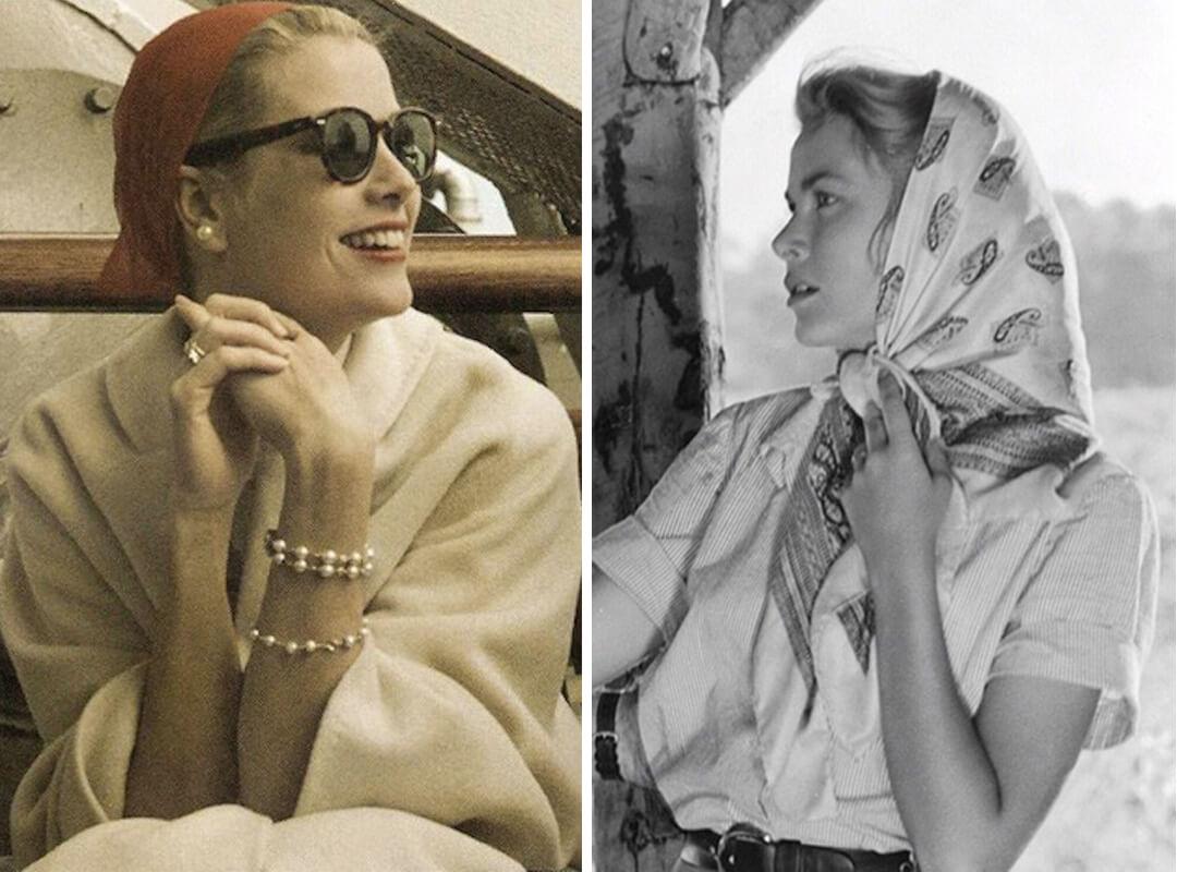 Grace Kelly wearing a headscarf.