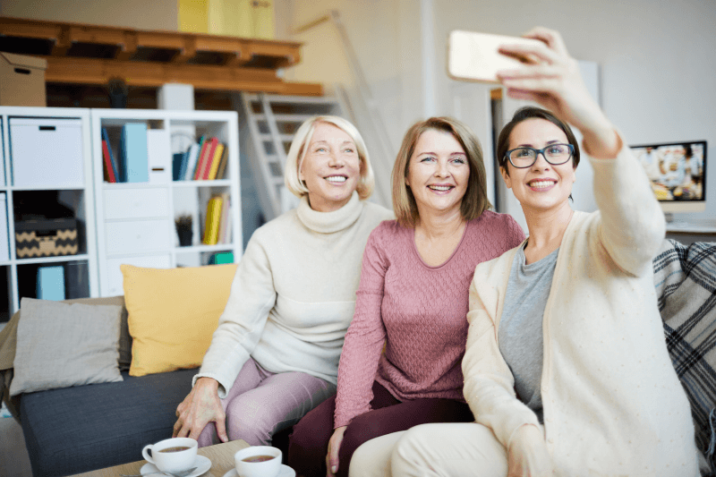 Three women take a selfie